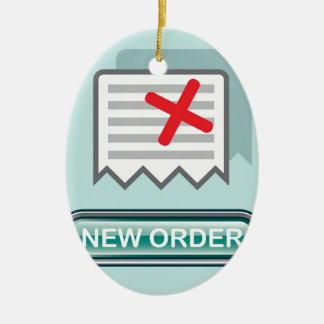 Nuevo vector del icono del botón de la orden adorno navideño ovalado de cerámica