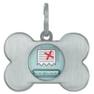 Nuevo vector del icono del botón de la orden placa de nombre de mascota