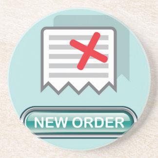 Nuevo vector del icono del botón de la orden posavaso para bebida