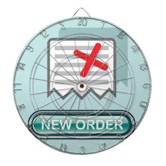 Nuevo vector del icono del botón de la orden tablero de dardos