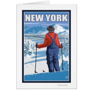 Nuevo YorkSkier que admira la visión Tarjeta De Felicitación