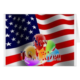 Nuevos bandera y globos del ciudadano de los tarjeta de felicitación