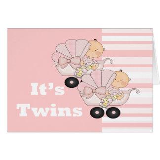 Nuevos chicas del gemelo del bebé tarjeta de felicitación