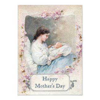 Nuevos madre y niño del vintage con el texto de invitación 12,7 x 17,8 cm