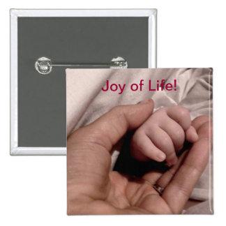 Nuevos mamá y bebé - alegría de la vida chapa cuadrada 5 cm