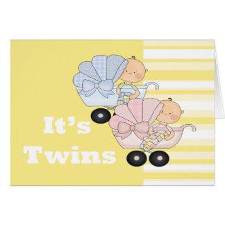 Nuevos muchacho y chica del gemelo del bebé tarjeta de felicitación