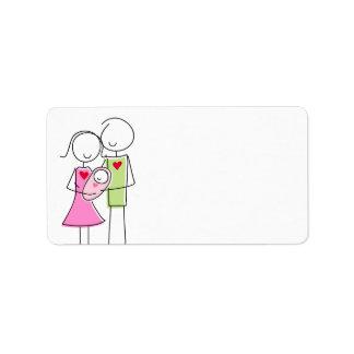 Nuevos padres con la niña - etiquetas etiquetas de dirección