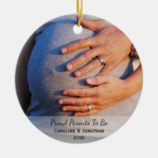 Nuevos padres de espera a ser foto clásica simple adorno de cerámica