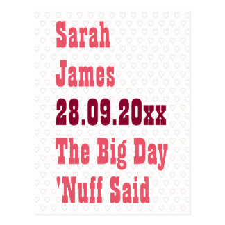 Nuff dijo reserva divertida la invitación del boda postal