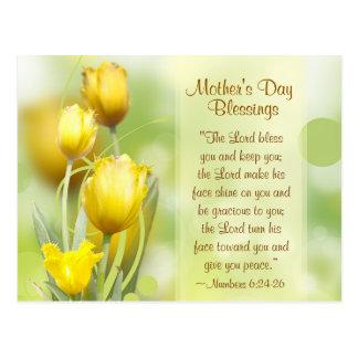 Numera el 6:24 - 26, bendiciones del día de madre, postal