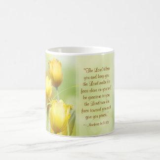 Numera el 6:24 - 26, Blessing de señor, tulipanes Taza De Café