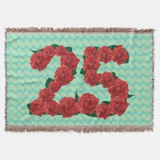 Numere 25 rosas rojos del 25to cumpleaños manta