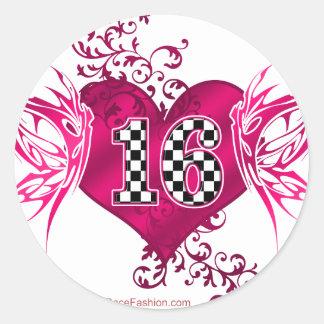 Número 16 en inspectores con las mariposas pegatina redonda