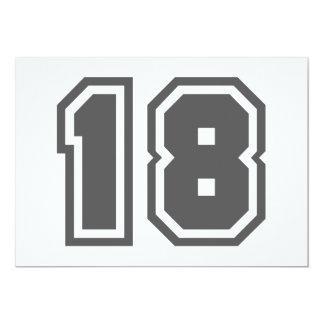 Número 18 invitación 12,7 x 17,8 cm