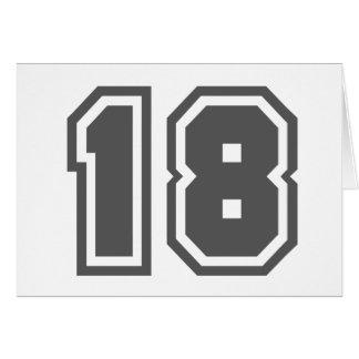 Número 18 tarjeta de felicitación