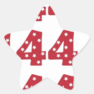 Número 4 - Estrellas del blanco en rojo oscuro Pegatina En Forma De Estrella