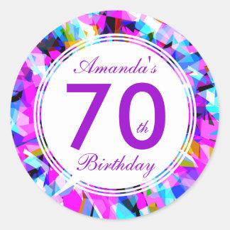 Número 70 - Pegatina redondo del cumpleaños