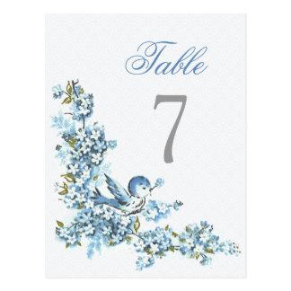 Número azul de la tabla del boda del invierno de postal
