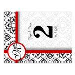 Número blanco y negro de la tabla de la franja roj postales