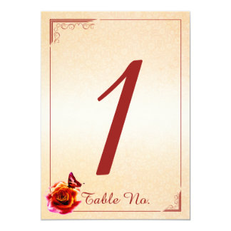 Número color de rosa y de la mariposa anaranjado invitación 12,7 x 17,8 cm