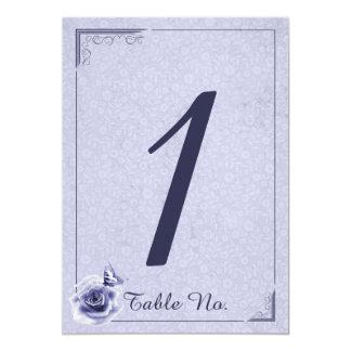 Número color de rosa y de la mariposa azul del invitación 12,7 x 17,8 cm
