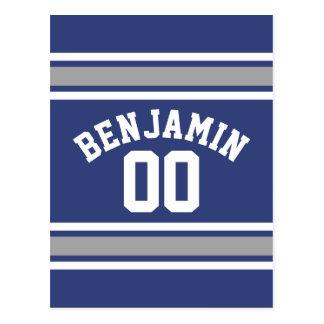 Número conocido de encargo del jersey azul y de postales