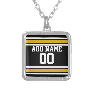 Número conocido de encargo del oro del jersey negr colgante cuadrado