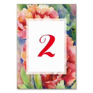 Número coralino de la tabla del boda de la tarjeta