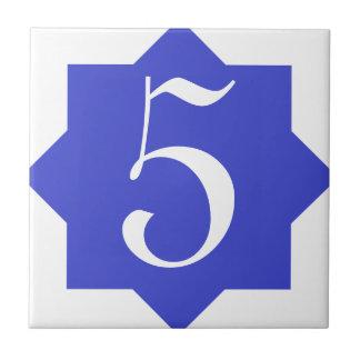 Número de casa azul de la estrella marroquí azulejo cuadrado pequeño
