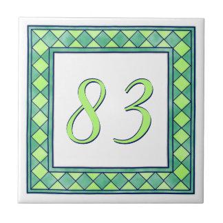 Número de casa verde azulejo de cerámica