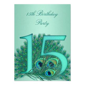 número de la edad de la plantilla del pavo real de invitación 13,9 x 19,0 cm