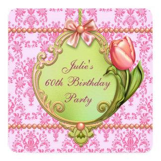 Número de la mujer rosada del damasco de los invitación 13,3 cm x 13,3cm