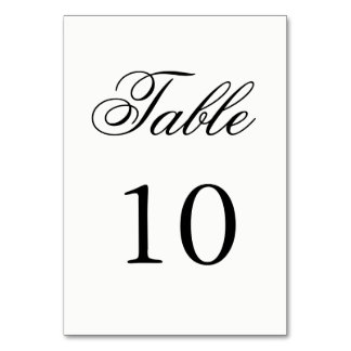 Número de la tabla de la escritura tarjeta