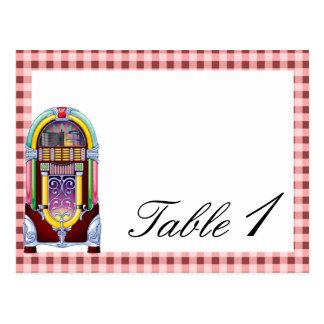 número de la tabla del boda de la máquina tocadisc tarjeta postal