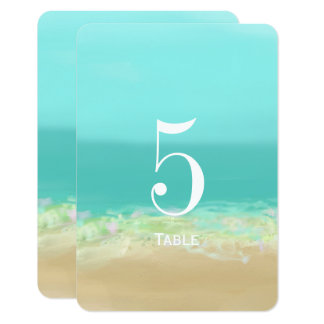 Número de la tabla del boda de playa del agua azul invitación 8,9 x 12,7 cm