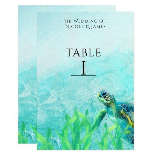 Número de la tabla del boda del arte de la playa invitación 8,9 x 12,7 cm