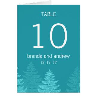 Número de la tabla del boda del invierno del árbol tarjeta de felicitación