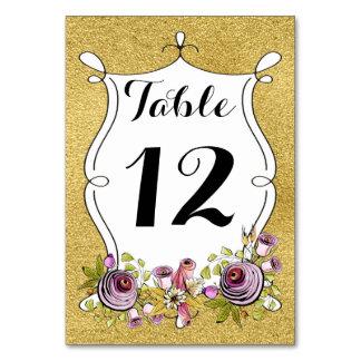 Número de la tabla del boda, FALSA hoja de oro,