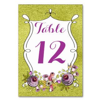 Número de la tabla del boda, FALSA hoja verde,