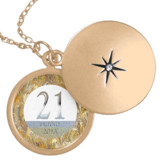 Número de plata personalizado 21 del 21ro cumpleañ pendiente