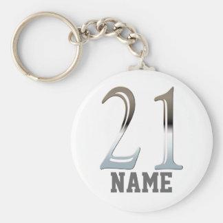 Número de plata personalizado 21 del 21ro cumpleañ llaveros