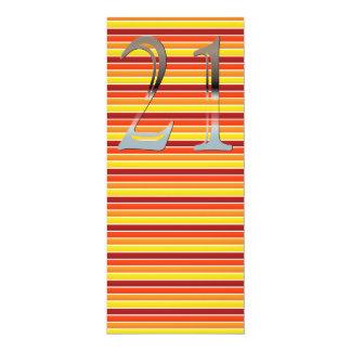 Número de plata personalizado 21 del 21ro invitación 10,1 x 23,5 cm