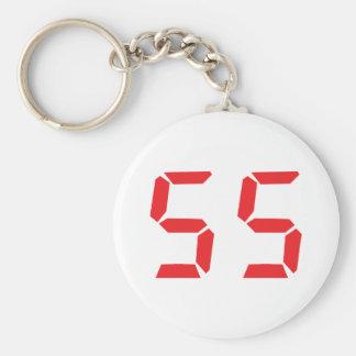 número digital del despertador rojo de 55 cincuent llavero redondo tipo chapa