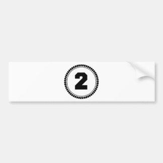 Número dos pegatina para coche