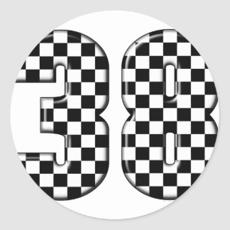número el competir con auto 38 pegatinas redondas