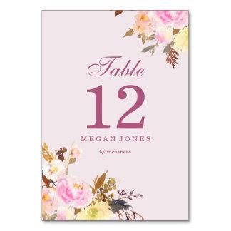 Número elegante floral de la tabla de Quinceanera Tarjeta