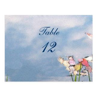 Número en colores pastel de la tabla de las reflex postal
