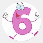 Número feliz 6 pegatina redonda