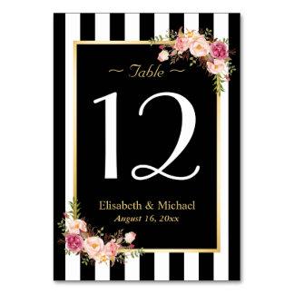 Tarjetas con números de mesa de boda en Zazzle.