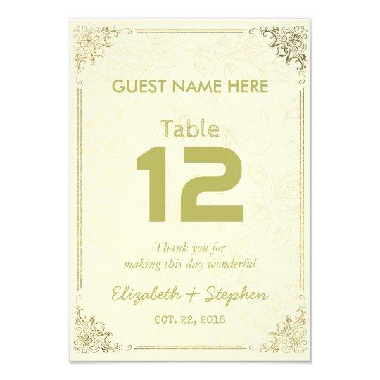 Número floral de la tabla del asiento del boda del invitación 8,9 x 12,7 cm
